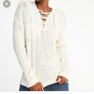New Old Navy Lace Up Cable knit Sweater M